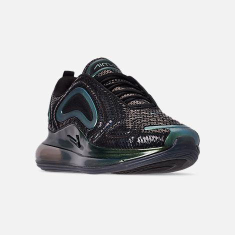 Three Quarter view of Women's Nike Air Max 720 Running Shoes in Black/Laser Fuchsia/Anthracite