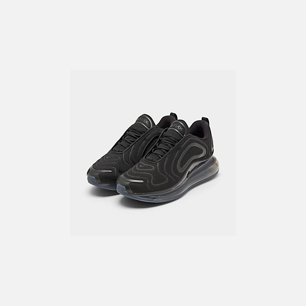 Three Quarter view of Women's Nike Air Max 720 Running Shoes in Black/Black/Black
