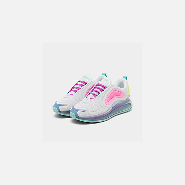 Three Quarter view of Women's Nike Air Max 720 Running Shoes in White/Light Aqua/Chalk Blue/Psychic Pink