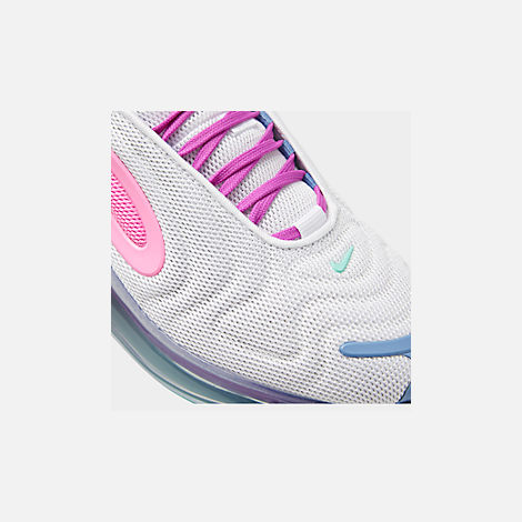 Front view of Women's Nike Air Max 720 Running Shoes in White/Light Aqua/Chalk Blue/Psychic Pink