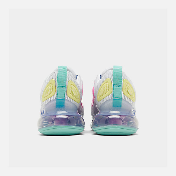 Left view of Women's Nike Air Max 720 Running Shoes in White/Light Aqua/Chalk Blue/Psychic Pink