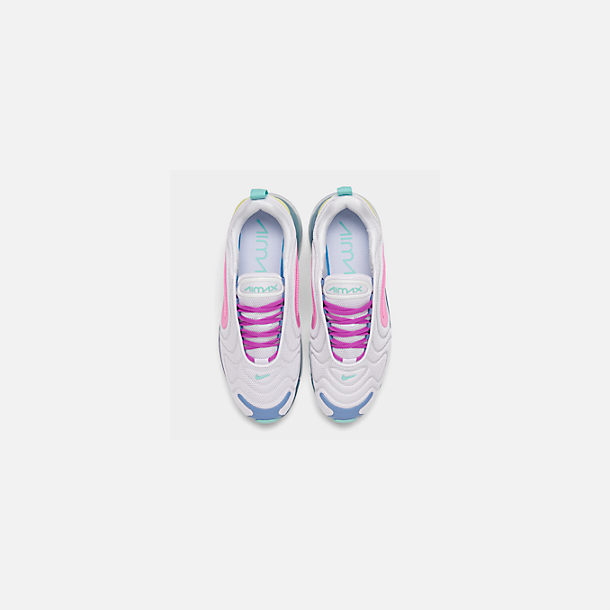 Back view of Women's Nike Air Max 720 Running Shoes in White/Light Aqua/Chalk Blue/Psychic Pink
