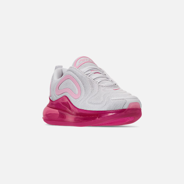 Three Quarter view of Women's Nike Air Max 720 Running Shoes in White/Pink Rise/Laser Fuchsia
