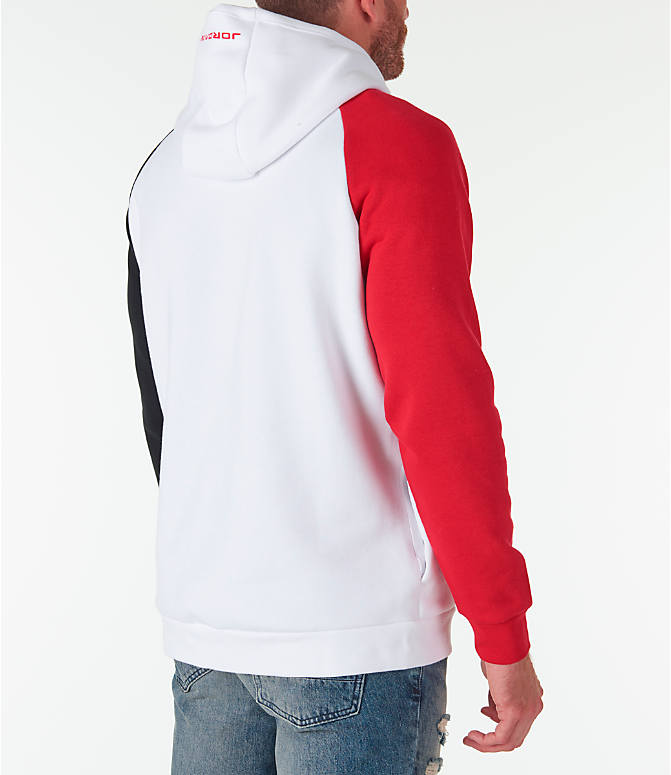 "Back Right view of Men's Air Jordan 13 ""He Got Game"" Hoodie in White/Red/Black"