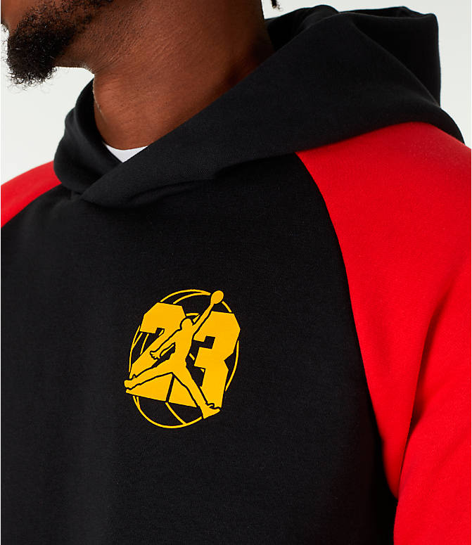 "Detail 1 view of Men's Air Jordan 13 ""He Got Game"" Hoodie in Black/Red"