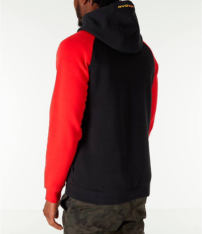 "Back Left view of Men's Air Jordan 13 ""He Got Game"" Hoodie in Black/Red"