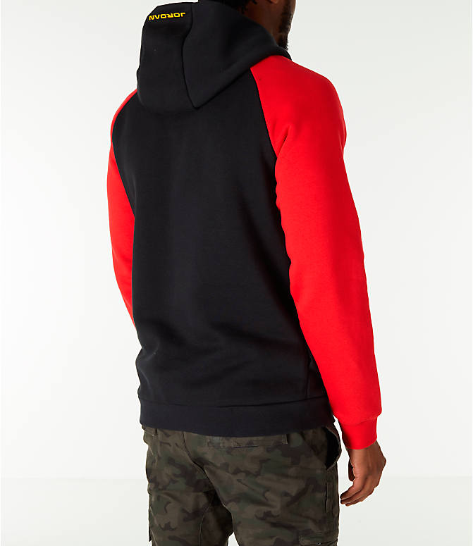 "Back Right view of Men's Air Jordan 13 ""He Got Game"" Hoodie in Black/Red"