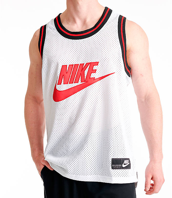 Detail 1 view of Men's Nike Sportswear Statement Mesh Jersey Tank in White