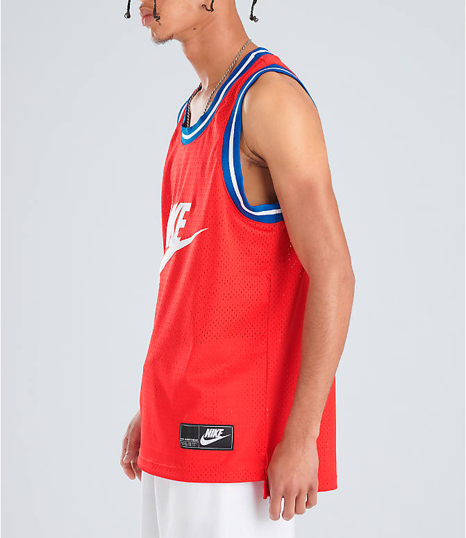 105934de Front Three Quarter view of Men's Nike Sportswear Statement Mesh Jersey Tank  in University Red