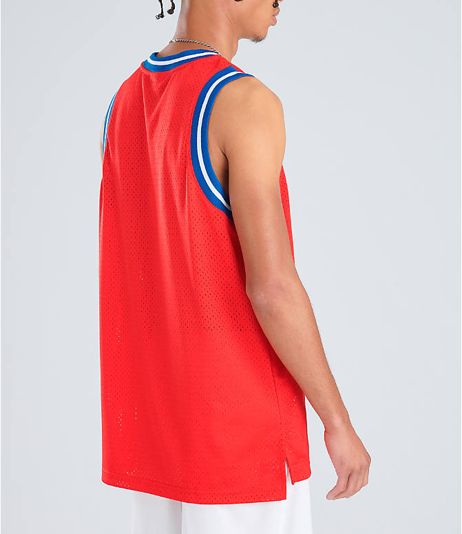 3432b3df Back Right view of Men's Nike Sportswear Statement Mesh Jersey Tank in  University Red