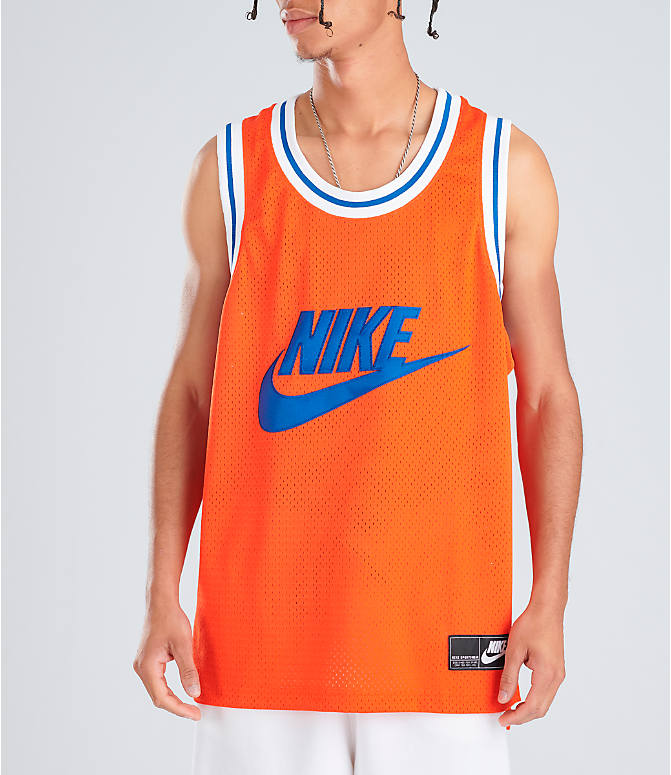 Front view of Men's Nike Sportswear Statement Mesh Jersey Tank in Team Orange