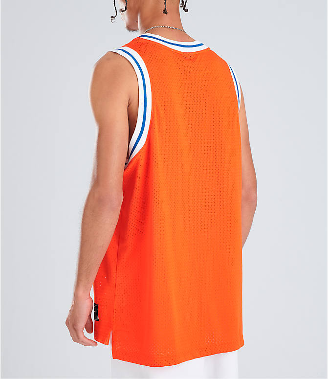 Back Left view of Men's Nike Sportswear Statement Mesh Jersey Tank in Team Orange