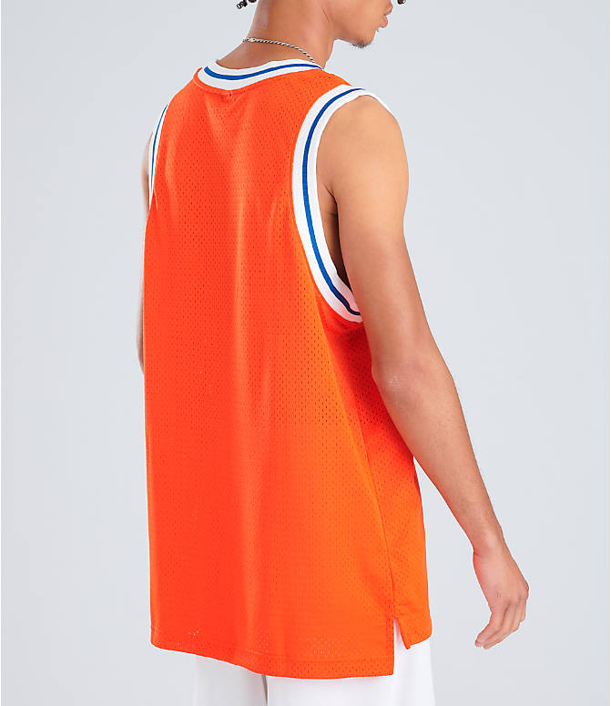 Back Right view of Men's Nike Sportswear Statement Mesh Jersey Tank in Team Orange