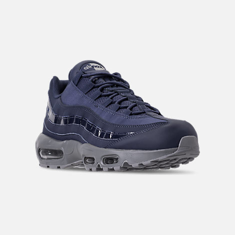 Three Quarter view of Men's Nike Air Max 95 RM Running Shoes in Obsidian/Cobalt