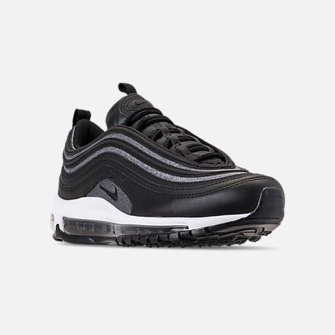 Three Quarter view of Women's Nike Air Max 97 SE Casual Shoes in Black/Dark Grey/White