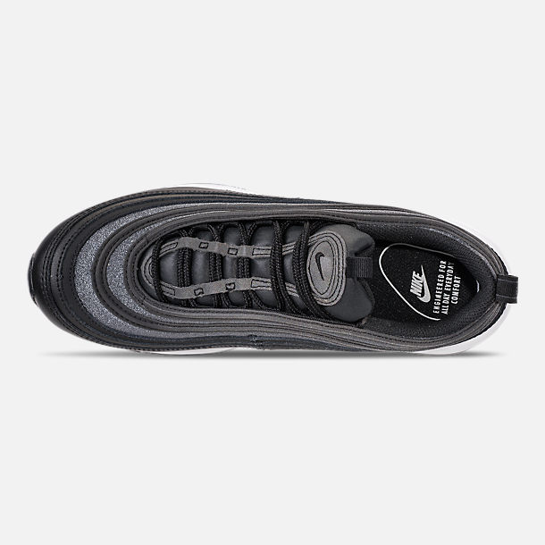 Top view of Women's Nike Air Max 97 SE Casual Shoes in Black/Dark Grey/White