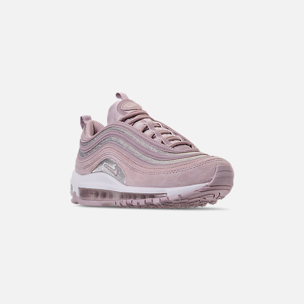 Three Quarter view of Women's Nike Air Max 97 SE Casual Shoes in Rust Pink/Particle Rose/White