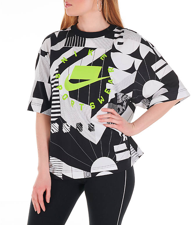Front view of Women's Nike Sportswear Allover Print T-Shirt in Black/White/Allover Print
