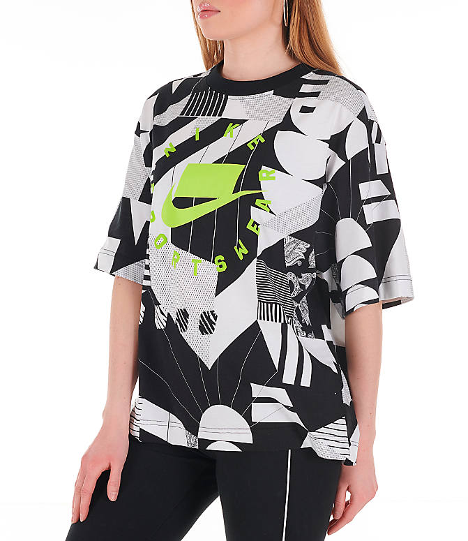 Front Three Quarter view of Women's Nike Sportswear Allover Print T-Shirt in Black/White/Allover Print