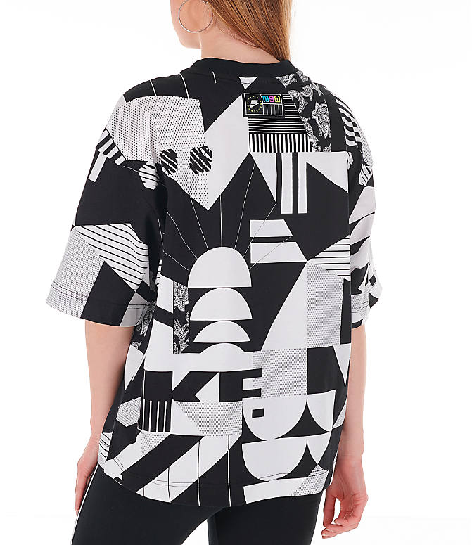 Back Left view of Women's Nike Sportswear Allover Print T-Shirt in Black/White/Allover Print