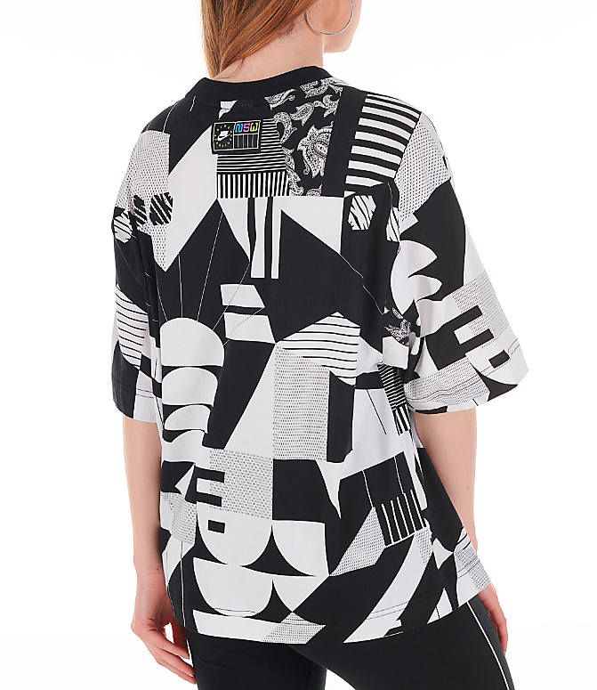 Back Right view of Women's Nike Sportswear Allover Print T-Shirt in Black/White/Allover Print