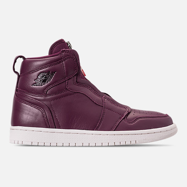 Right view of Women's Air Jordan 1 High Zip Casual Shoes in Bordeaux/Black