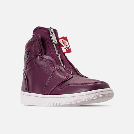 Three Quarter view of Women's Air Jordan 1 High Zip Casual Shoes in Bordeaux/Black