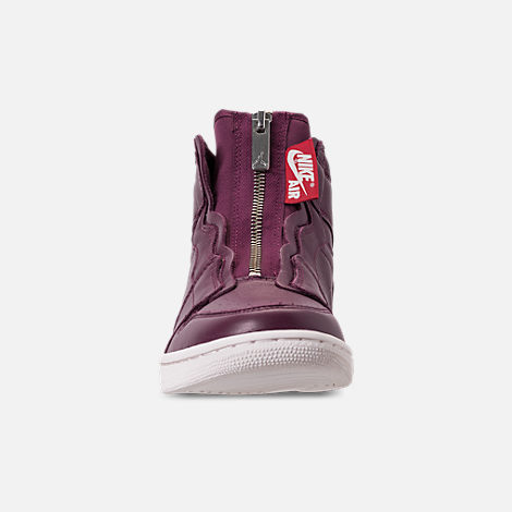 Front view of Women's Air Jordan 1 High Zip Casual Shoes in Bordeaux/Black
