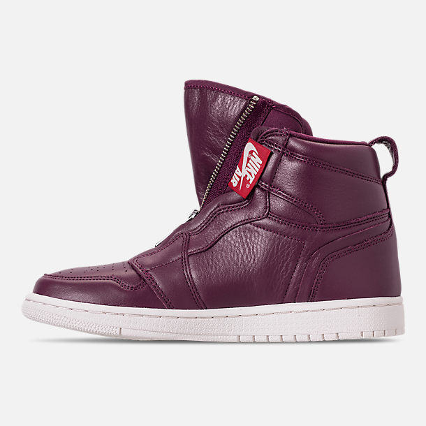 Left view of Women's Air Jordan 1 High Zip Casual Shoes in Bordeaux/Black