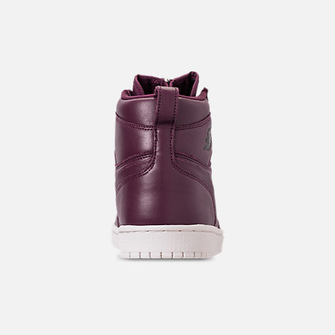 Back view of Women's Air Jordan 1 High Zip Casual Shoes in Bordeaux/Black