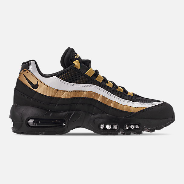 Right view of Men's Nike Air Max 95 OG Casual Shoes in Black/Metallic Gold/White