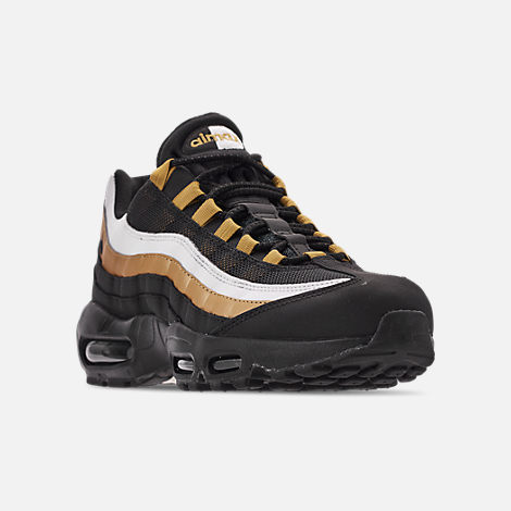 Three Quarter view of Men's Nike Air Max 95 OG Casual Shoes in Black/Metallic Gold/White