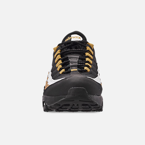 Front view of Men's Nike Air Max 95 OG Casual Shoes in Black/Metallic Gold/White