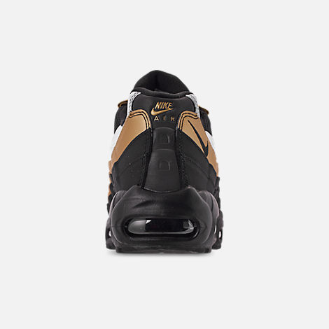 Back view of Men's Nike Air Max 95 OG Casual Shoes in Black/Metallic Gold/White