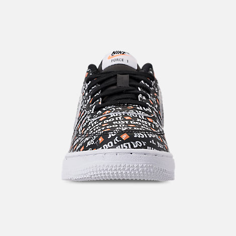 Front view of Little Kids' Nike Air Force 1 JDI Premium Casual Shoes in Black/Total Orange/White