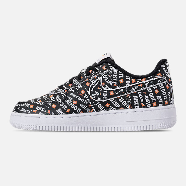 Left view of Little Kids' Nike Air Force 1 JDI Premium Casual Shoes in Black/Total Orange/White