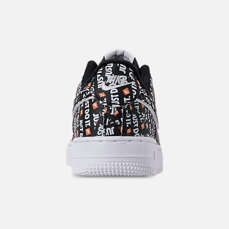 Back view of Little Kids' Nike Air Force 1 JDI Premium Casual Shoes in Black/Total Orange/White