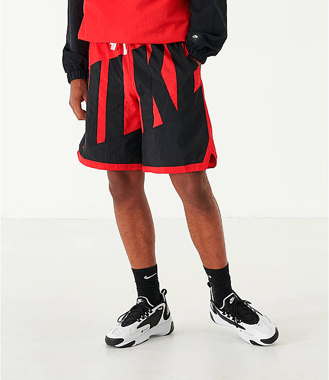 Front view of Men's Nike Dri-FIT Throwback Basketball Shorts in Red/Black