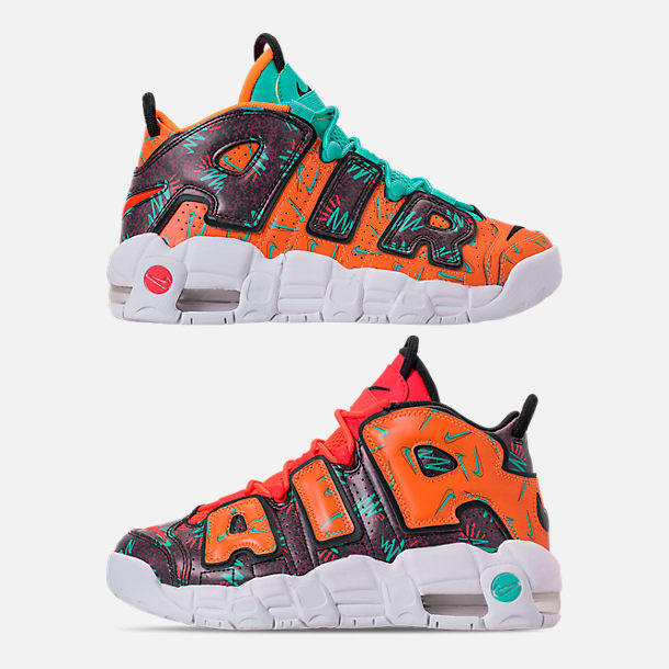Right view of Boys' Big Kids' Nike Air More Uptempo Premium Basketball Shoes in Total Orange/Black/Hyper Jade/Bordeaux