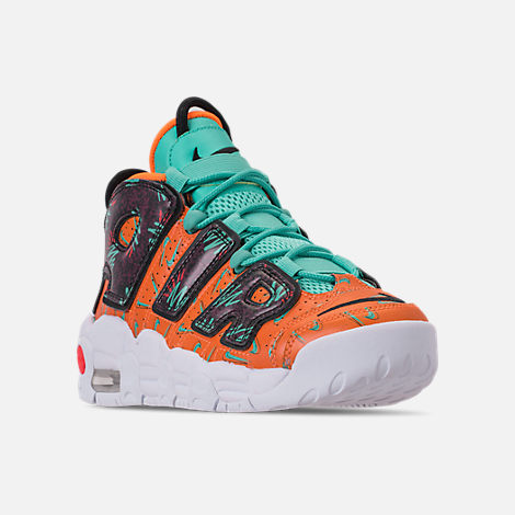 Three Quarter view of Boys' Big Kids' Nike Air More Uptempo Premium Basketball Shoes in Total Orange/Black/Hyper Jade/Bordeaux