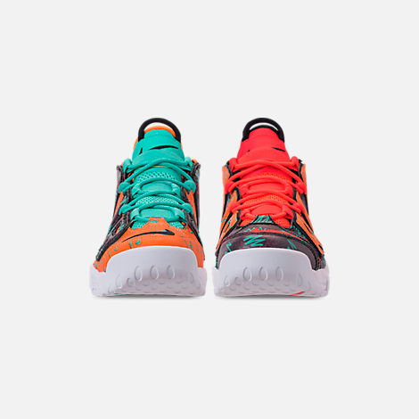 Front view of Boys' Big Kids' Nike Air More Uptempo Premium Basketball Shoes in Total Orange/Black/Hyper Jade/Bordeaux