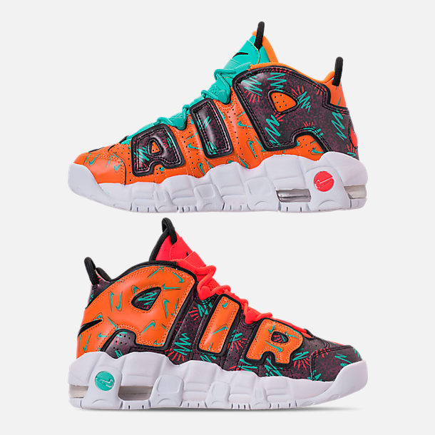 Left view of Boys' Big Kids' Nike Air More Uptempo Premium Basketball Shoes in Total Orange/Black/Hyper Jade/Bordeaux