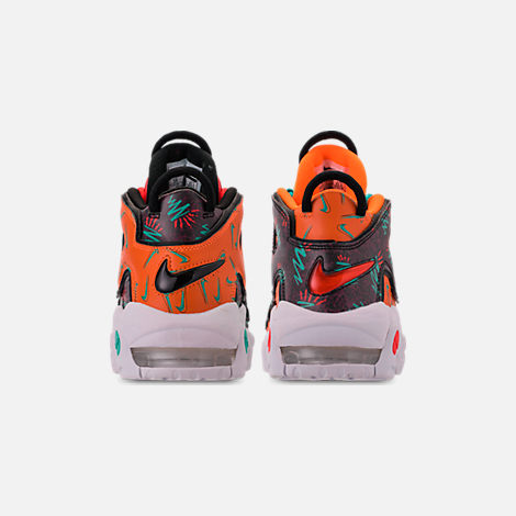 Back view of Boys' Big Kids' Nike Air More Uptempo Premium Basketball Shoes in Total Orange/Black/Hyper Jade/Bordeaux