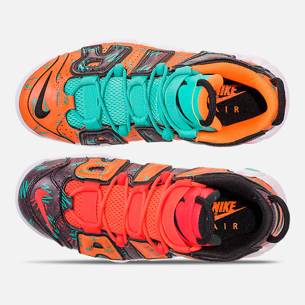 Top view of Boys' Big Kids' Nike Air More Uptempo Premium Basketball Shoes in Total Orange/Black/Hyper Jade/Bordeaux