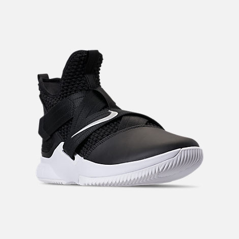 Three Quarter view of Men's Nike LeBron Soldier 12 TB Basketball Shoes in Black/Metallic Silver/White