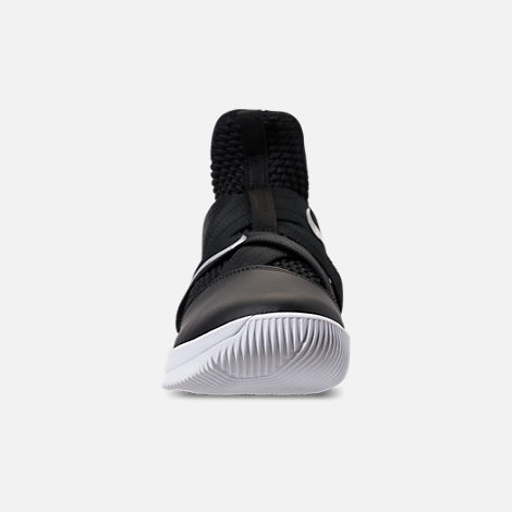 Front view of Men's Nike LeBron Soldier 12 TB Basketball Shoes in Black/Metallic Silver/White