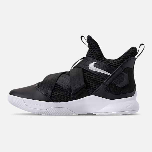 Left view of Men's Nike LeBron Soldier 12 TB Basketball Shoes in Black/Metallic Silver/White
