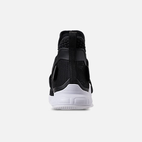 Back view of Men's Nike LeBron Soldier 12 TB Basketball Shoes in Black/Metallic Silver/White