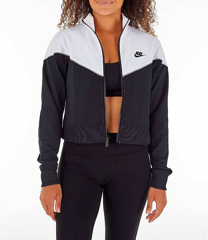 Front view of Women's Nike Sportswear Crop Heritage Track Jacket in Black/White