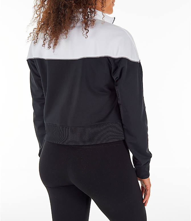 Back Right view of Women's Nike Sportswear Crop Heritage Track Jacket in Black/White
